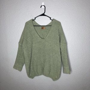 POL OVER SIZED CABLE KNIT PULLOVER SWEATER